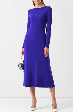 Однотонное платье-миди из кашемира Tse синее | Фото №1