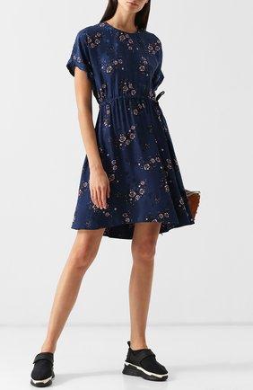 Приталенное мини-платье с принтом Kenzo синее | Фото №1