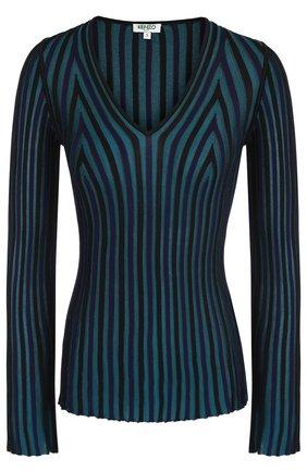 Вязаный пуловер с V-образным вырезом Kenzo разноцветный | Фото №1