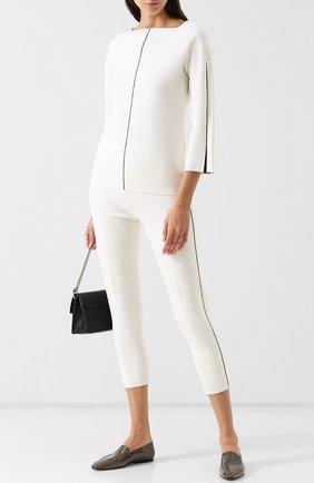 Шерстяной пуловер с укороченным рукавом и контрастной отделкой Tse черно-белый | Фото №1