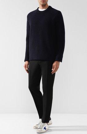 Шерстяной свитер фактурной вязки Joseph темно-синий | Фото №1