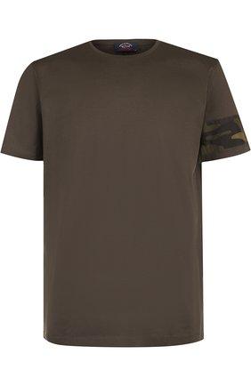 Хлопковая футболка с круглым вырезом Paul&Shark темно-синяя | Фото №1