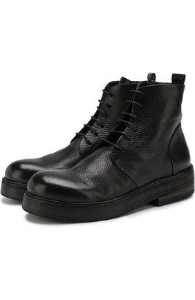 Кожаные ботинки на шнуровке Marsell черные | Фото №1