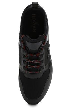 Комбинированные кроссовки на шнуровке Hogan черные | Фото №5