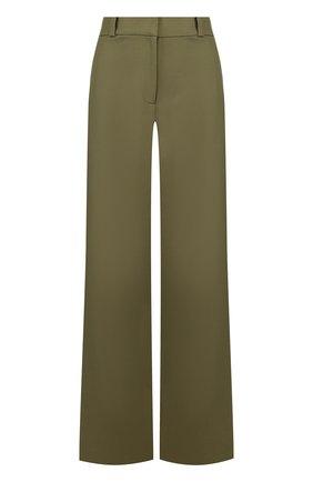 Однотонные расклешенные брюки из хлопка Oscar de la Renta хаки | Фото №1