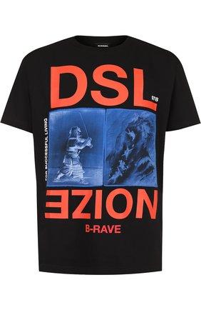 Хлопковая футболка с принтом Diesel черная | Фото №1