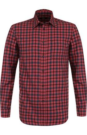Хлопковая рубашка с воротником кент Diesel красная | Фото №1