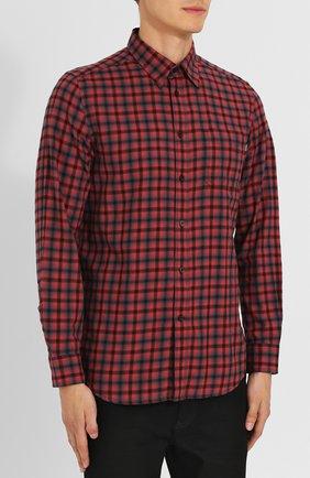 Хлопковая рубашка с воротником кент Diesel красная | Фото №3