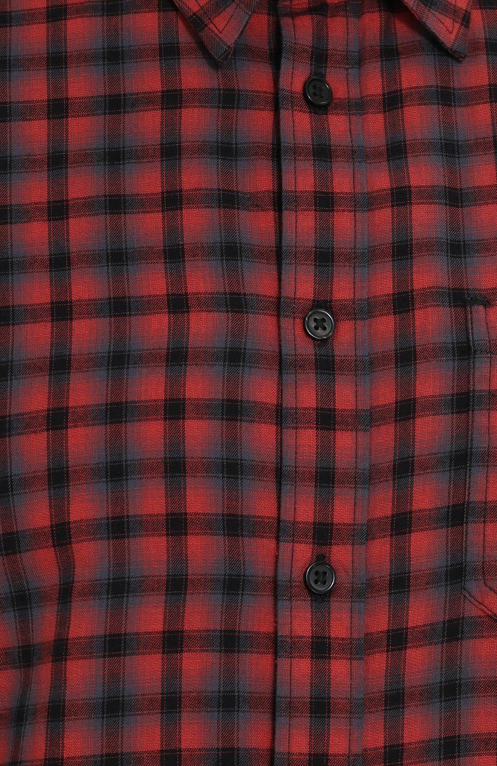 Хлопковая рубашка с воротником кент Diesel красная | Фото №5