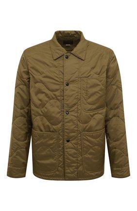 Стеганая куртка с отложным воротником RRL зеленая | Фото №1