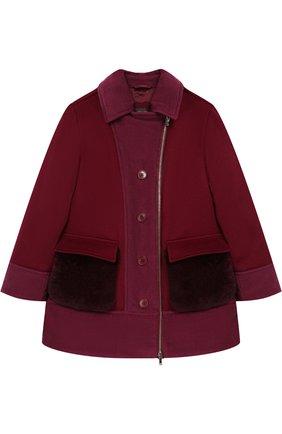 Детское кашемировая куртка на молнии с меховой отделкой LORO PIANA бордового цвета, арт. FAI2230 | Фото 1