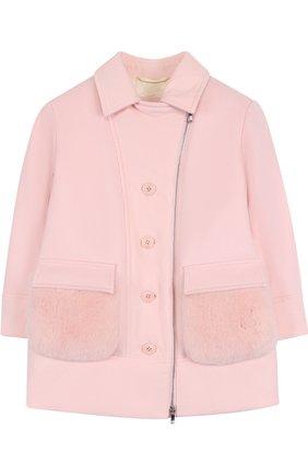 Кашемировая куртка на молнии с меховой отделкой | Фото №1