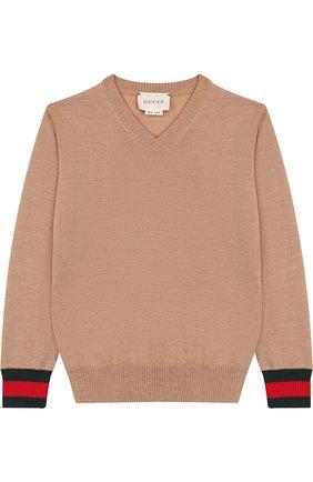 Детский шерстяной пуловер с контрастными манжетами GUCCI бежевого цвета, арт. 418774/X1284 | Фото 1