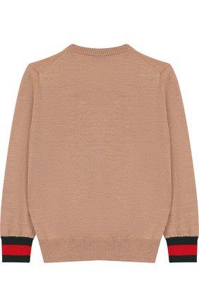 Детский шерстяной пуловер с контрастными манжетами GUCCI бежевого цвета, арт. 418774/X1284 | Фото 2