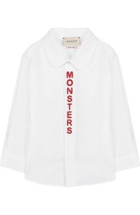 Хлопковая рубашка с контрастной вышивкой | Фото №1