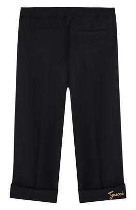 Детские брюки из смеси шерсти и кашемира с эластичным поясом GUCCI синего цвета, арт. 512290/XBE32 | Фото 2