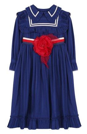 Хлопковое платье с завышенной талией и цветочной аппликацией | Фото №1