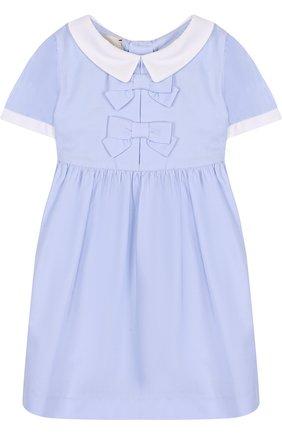 Женский хлопковое платье с бантами GUCCI голубого цвета, арт. 519492/XBE82 | Фото 1