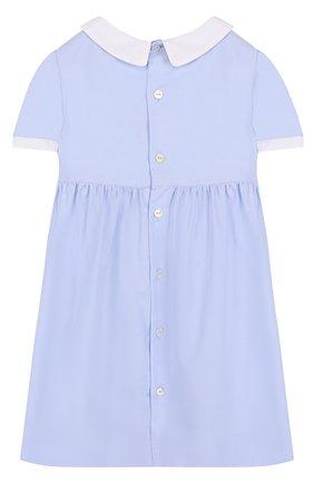 Женский хлопковое платье с бантами GUCCI голубого цвета, арт. 519492/XBE82 | Фото 2