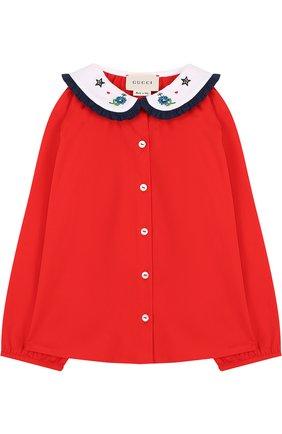 Хлопковая блуза с декоративным воротником   Фото №1