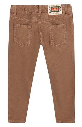 Детские вельветовые брюки прямого кроя GUCCI бежевого цвета, арт. 522162/XBE49 | Фото 2 (Статус проверки: Проверена категория; Материал внешний: Хлопок; Девочки Кросс-КТ: Брюки-одежда)