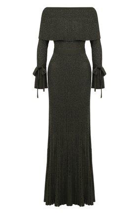 Вязаное платье-макси с поясом | Фото №1