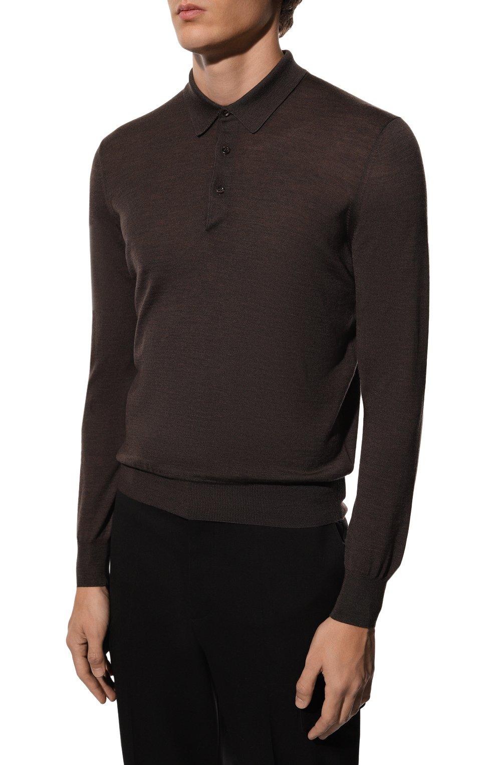 Мужское шерстяное поло GRAN SASSO темно-коричневого цвета, арт. 45132/14790 | Фото 3