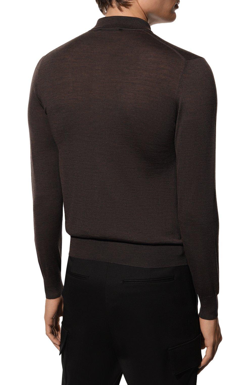 Мужское шерстяное поло GRAN SASSO темно-коричневого цвета, арт. 45132/14790 | Фото 4