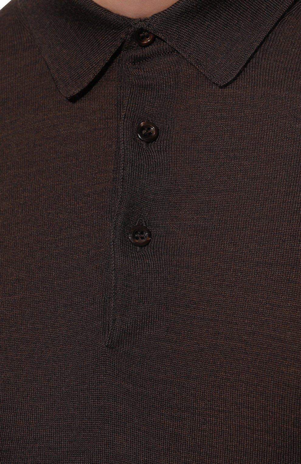 Мужское шерстяное поло GRAN SASSO темно-коричневого цвета, арт. 45132/14790 | Фото 5