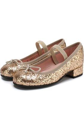 Детские туфли с отделкой глиттером и эластичной перемычкой Pretty Ballerinas золотого цвета   Фото №1