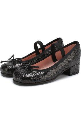 Детские туфли с отделкой глиттером и эластичной перемычкой PRETTY BALLERINAS черного цвета, арт. 39.976/9.033/KYLIE | Фото 1