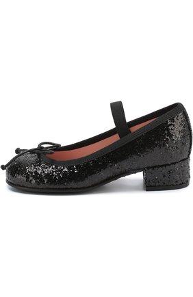 Детские туфли с отделкой глиттером и эластичной перемычкой PRETTY BALLERINAS черного цвета, арт. 39.976/9.033/KYLIE | Фото 2