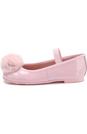 Детские балетки из лаковой кожи с помпоном и эластичной перемычкой Pretty Ballerinas розового цвета   Фото №1