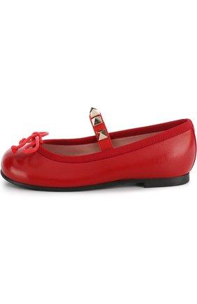 Детские кожаные балетки с эластичной перемычкой Pretty Ballerinas красного цвета   Фото №1