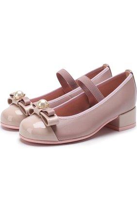 Детские кожаные туфли с бантом и эластичной перемычкой Pretty Ballerinas белого цвета   Фото №1