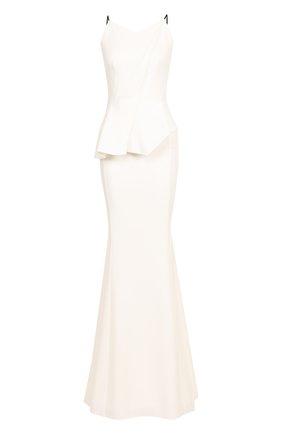 Приталенное платье-макси с оборкой | Фото №1