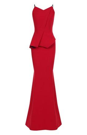 Приталенное платье-макси с оборкой Roland Mouret красное | Фото №1