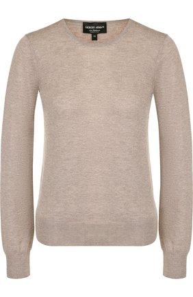 Однотонный кашемировый пуловер с круглым вырезом Giorgio Armani бежевый | Фото №1