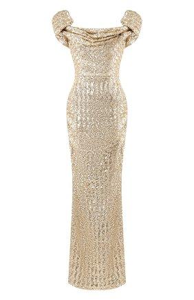 Приталенное платье-макси c пайетками | Фото №1