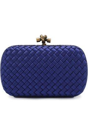 Клатч Chain Knot из сатина с плетением intrecciato Bottega Veneta синего цвета | Фото №1