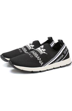 Текстильные кроссовки с перфорацией и логотипом бренда | Фото №1