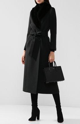 Женское кашемировое пальто с поясом и меховым воротником KITON темно-зеленого цвета, арт. D46619K01P69   Фото 2