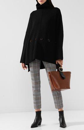 Шерстяной пуловер свободного кроя с высоким воротником Joseph черный | Фото №1