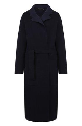 Шерстяное пальто с поясом Joseph темно-синего цвета | Фото №1