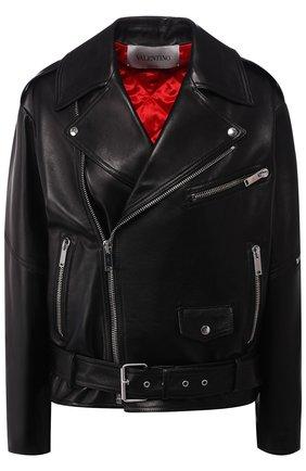 Кожаная куртка с косой молнией и поясом | Фото №1