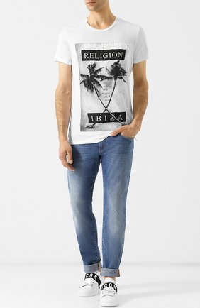 Хлопковая футболка с принтом Religion черная | Фото №1