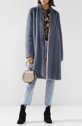 Пальто прямого кроя из меха норки Mate Official голубого цвета | Фото №1