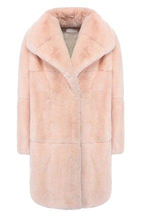 Пальто из меха кролика с отложным воротником Mate Official светло-розового цвета | Фото №1