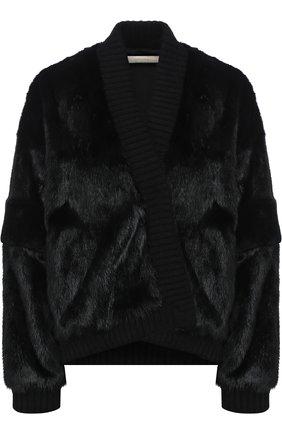 Укороченное меховое пальто Mate Official черная | Фото №1