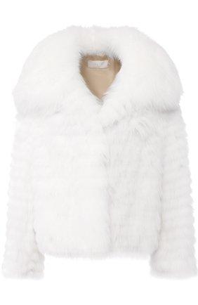 Укороченное меховое пальто из песца Mate Official белого цвета | Фото №1